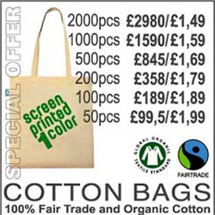 special offers and bulk discounts are available on our fairtrade cotton bags