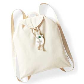 white organic cotton backpack