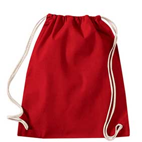 Westford Mill 110red cotton drawstring sports bag