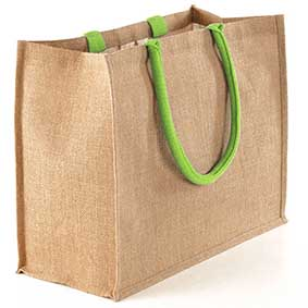 W 407 Large Jute Bag DUO with Coloured Handles